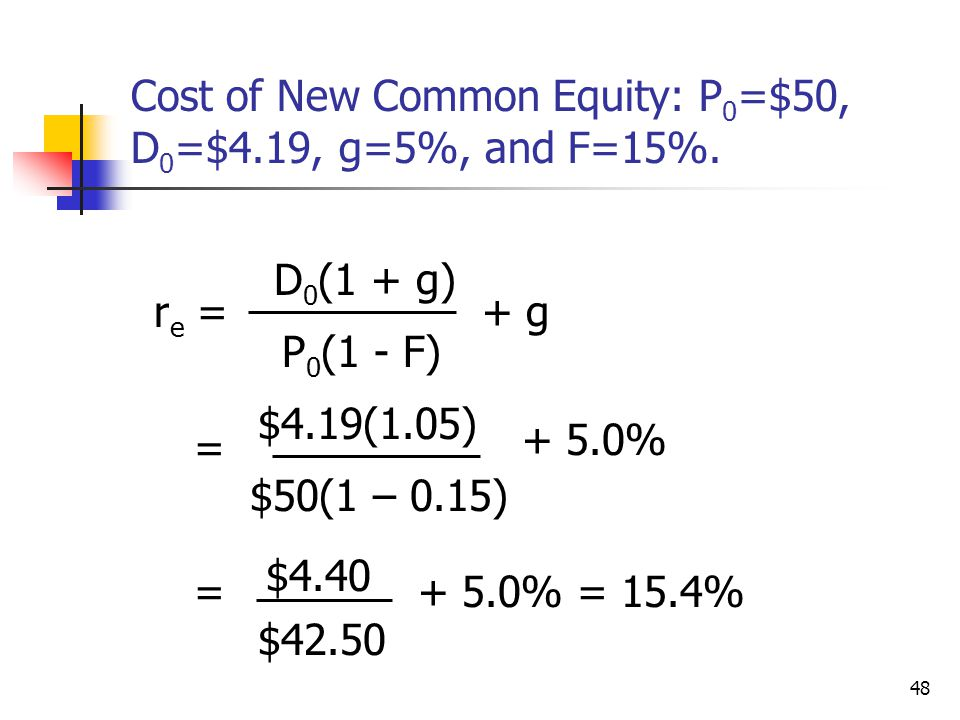 Cost of New Common Equity: P0=$50, D0=$4.19, g=5%, and F=15%.