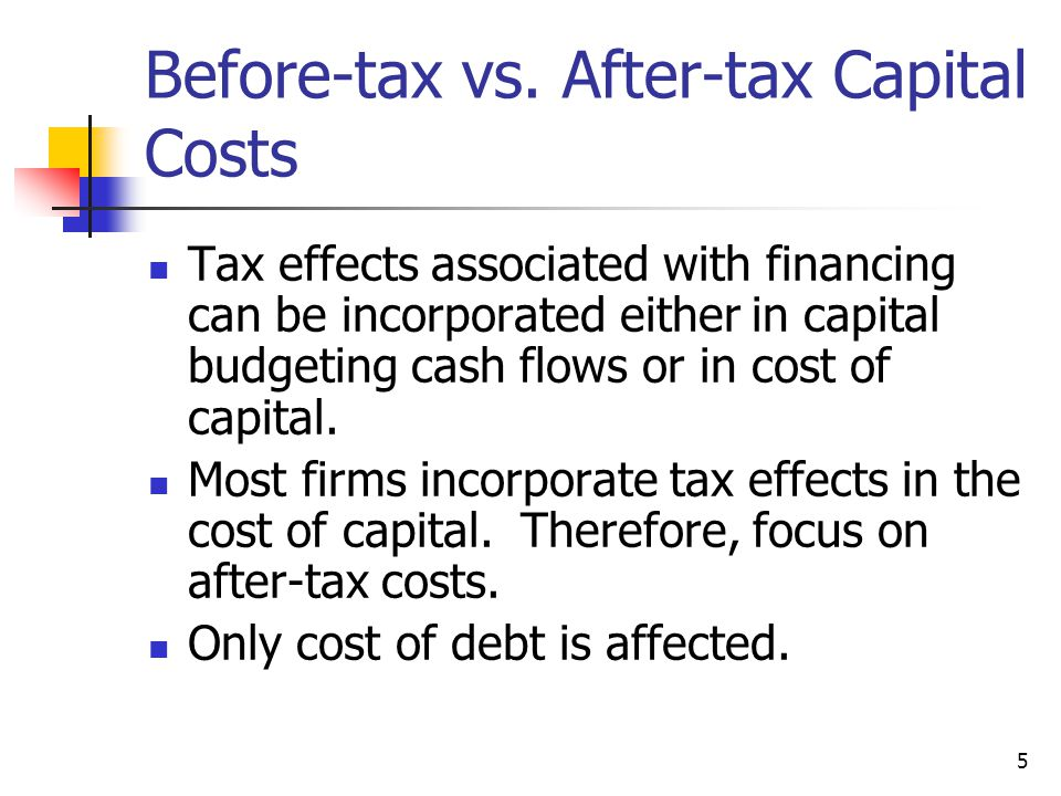 Before-tax vs. After-tax Capital Costs