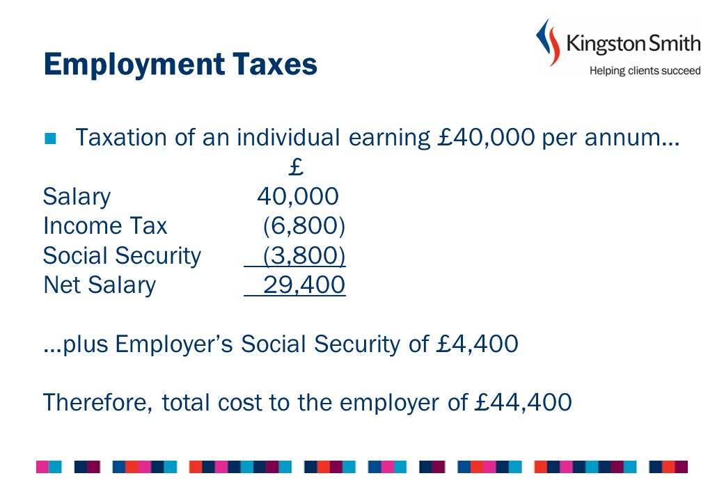 Employment Taxes Taxation of an individual earning £40,000 per annum…