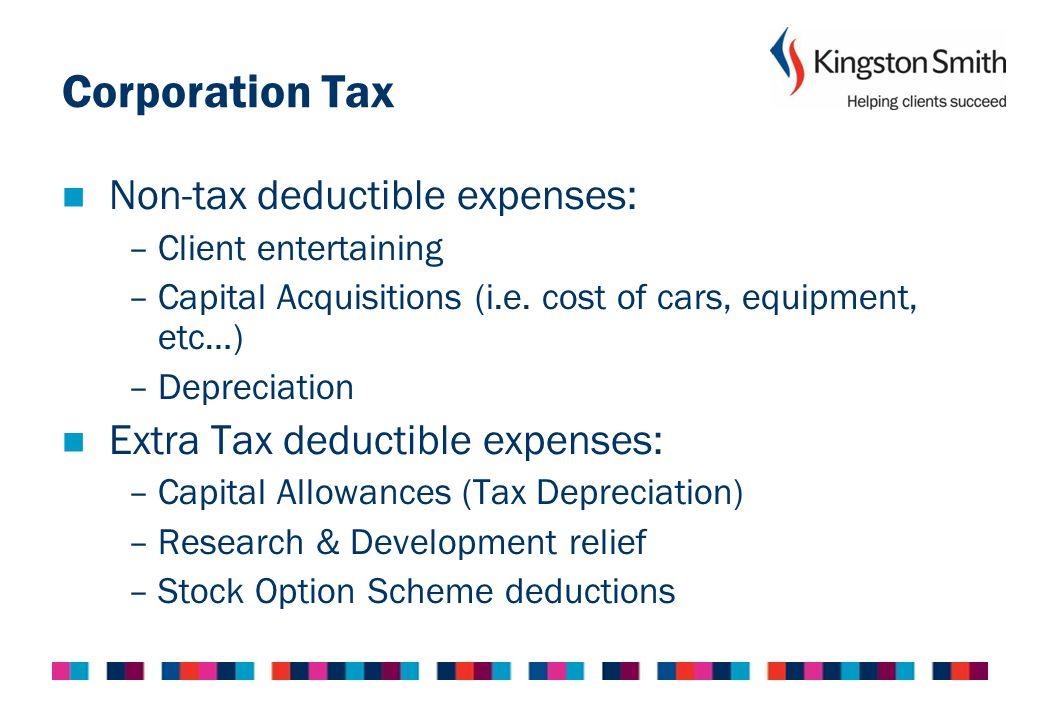 Corporation Tax Non-tax deductible expenses: