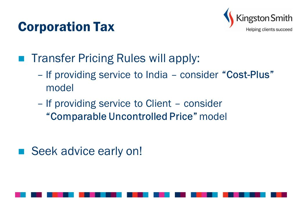 Corporation Tax Transfer Pricing Rules will apply: