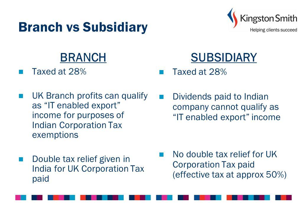 Branch vs Subsidiary BRANCH SUBSIDIARY Taxed at 28%