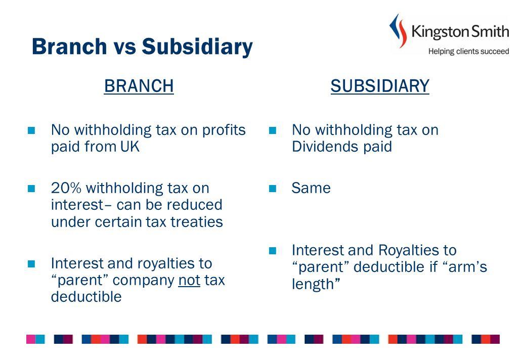 Branch vs Subsidiary BRANCH SUBSIDIARY
