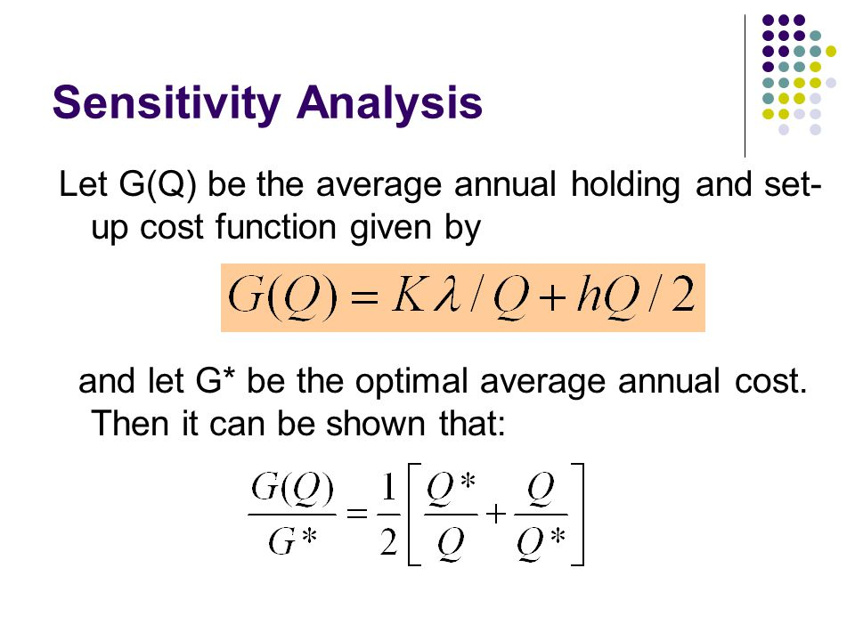 Sensitivity Analysis Let G(Q) be the average annual holding and set-up cost function given by.