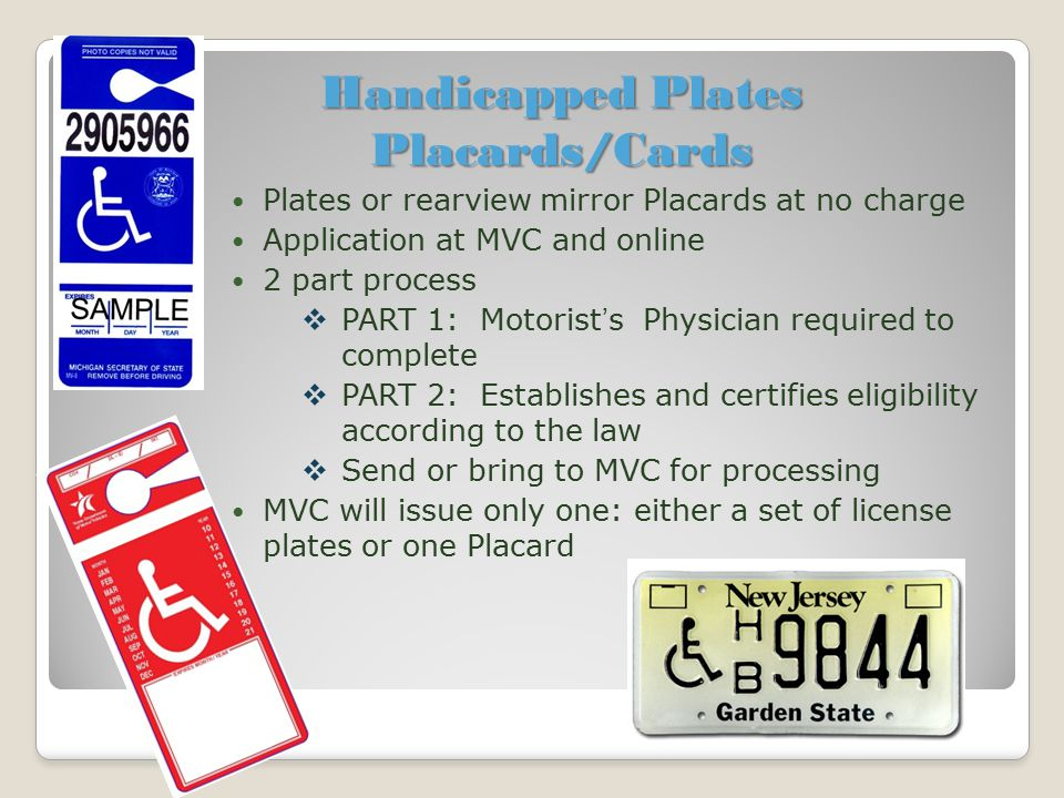 Handicapped Plates Placards/Cards