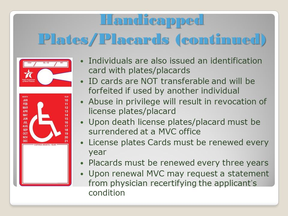 Handicapped Plates/Placards (continued)