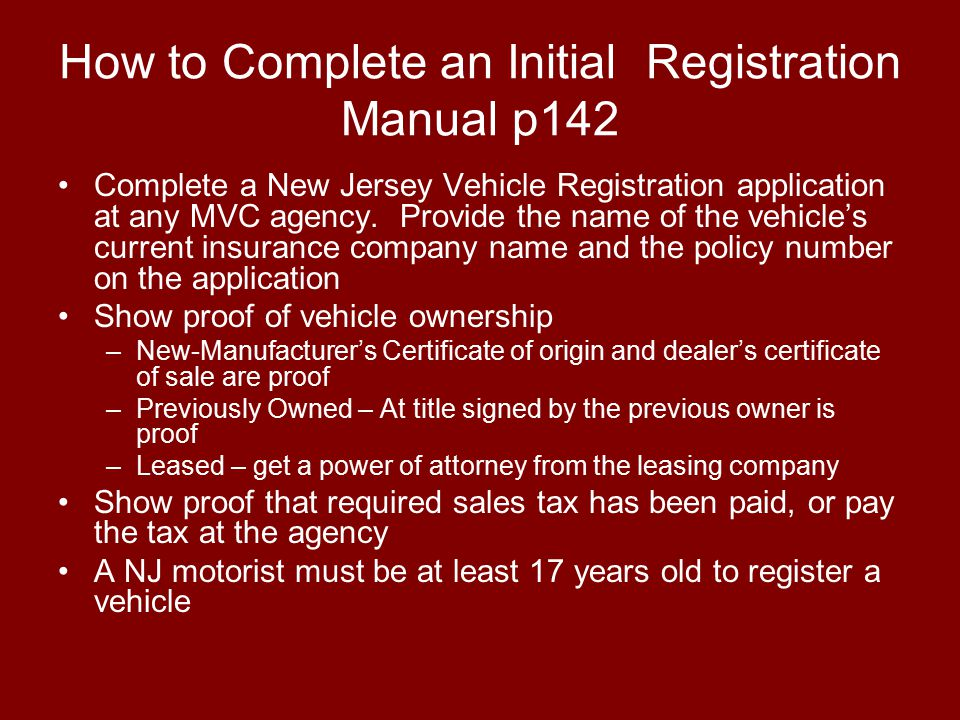 How to Complete an Initial Registration Manual p142