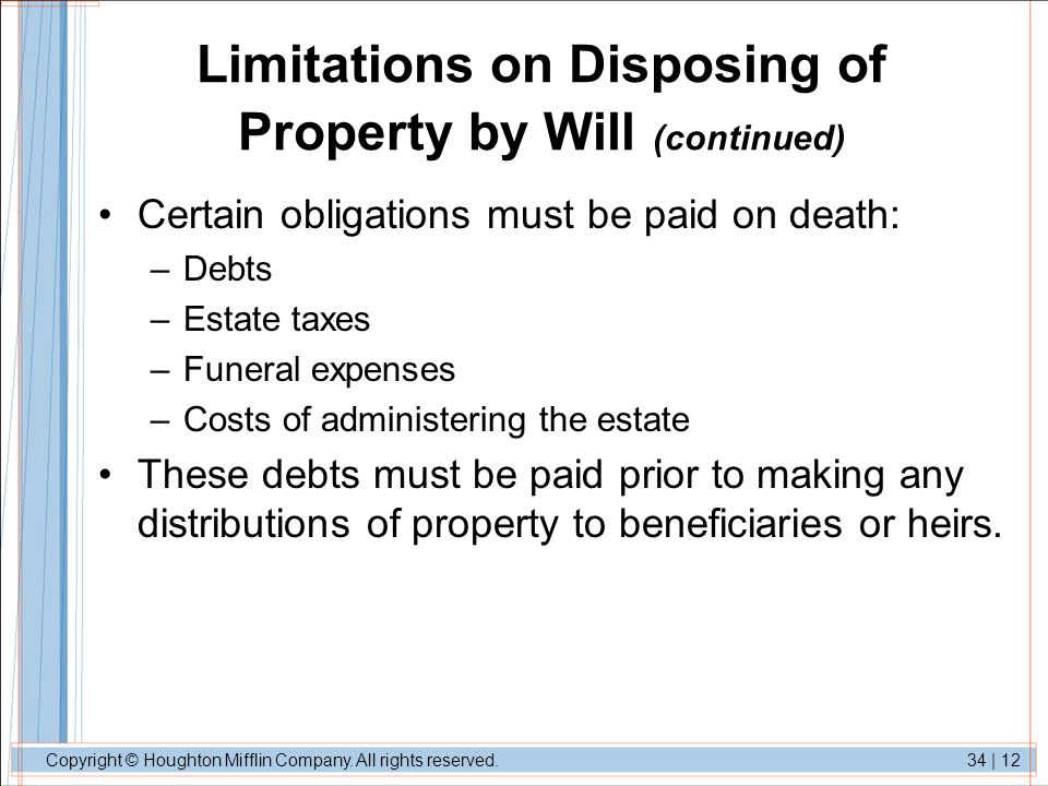 Limitations on Disposing of Property by Will (continued)