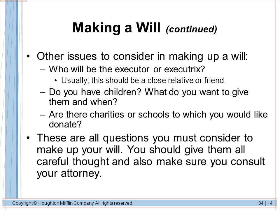 Making a Will (continued)