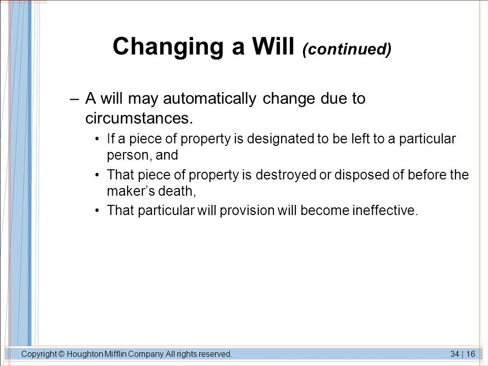 Changing a Will (continued)