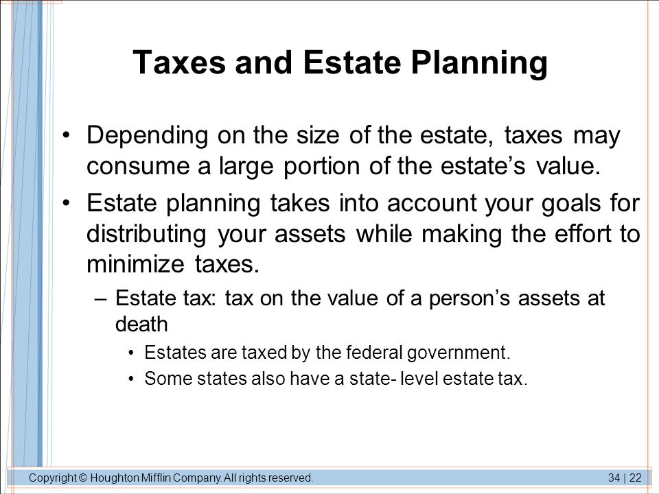 Taxes and Estate Planning