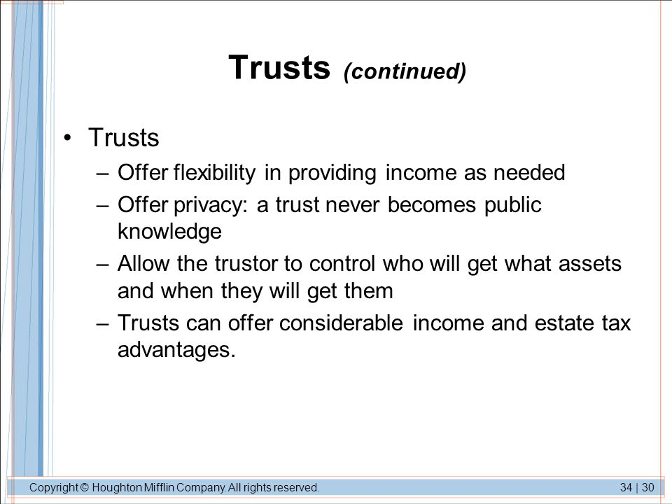 Trusts (continued) Trusts