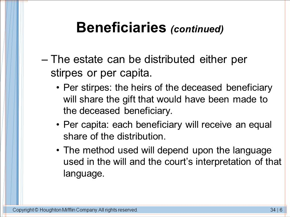 Beneficiaries (continued)