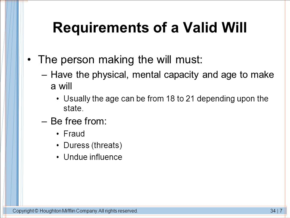 Requirements of a Valid Will