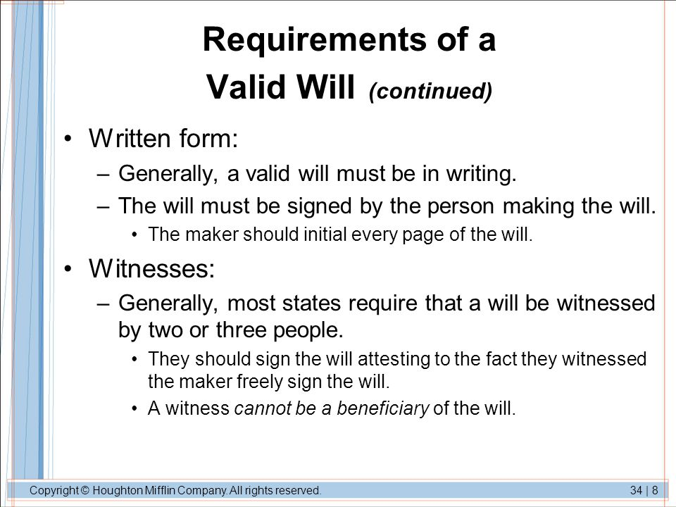 Requirements of a Valid Will (continued)