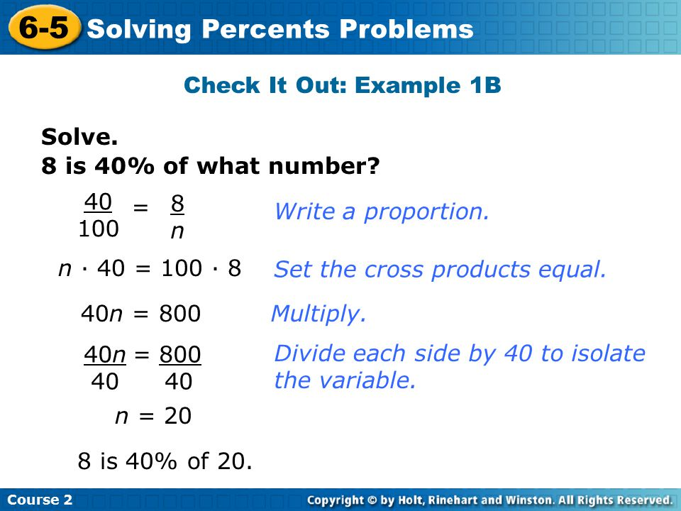6-5 Solving Percents Problems Check It Out: Example 1B Solve.