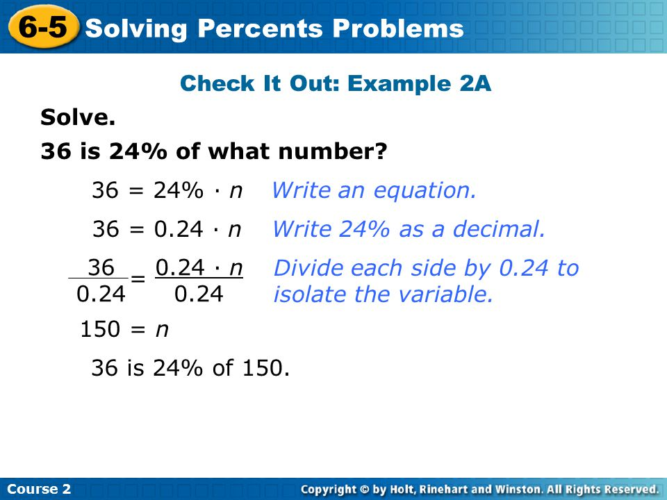 6-5 Solving Percents Problems Check It Out: Example 2A Solve.