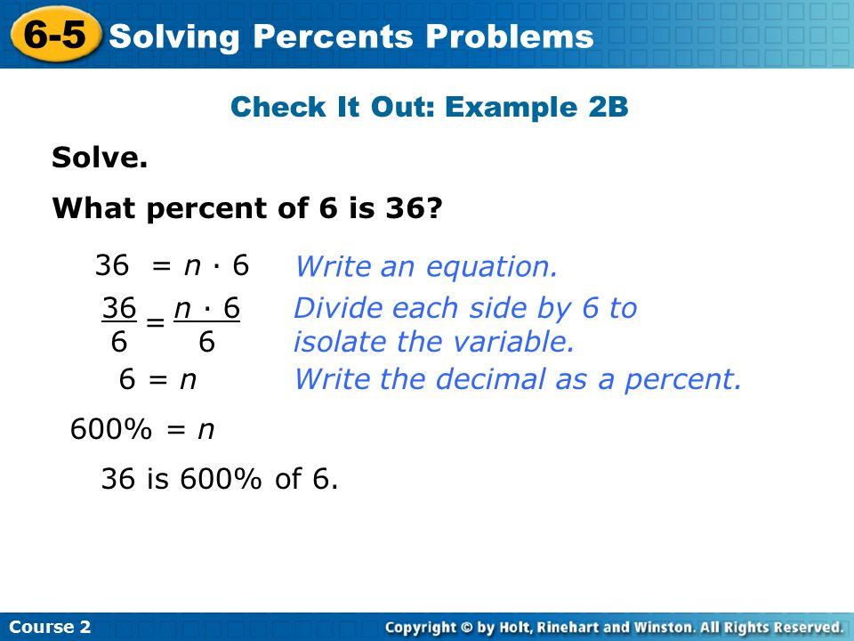 6-5 Solving Percents Problems Check It Out: Example 2B Solve.
