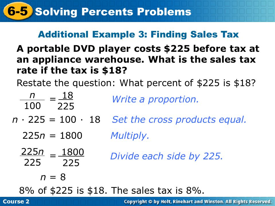 Additional Example 3: Finding Sales Tax