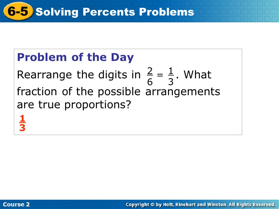 6-5 Solving Percents Problems Problem of the Day