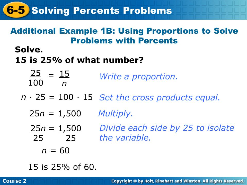 6-5 Solving Percents Problems
