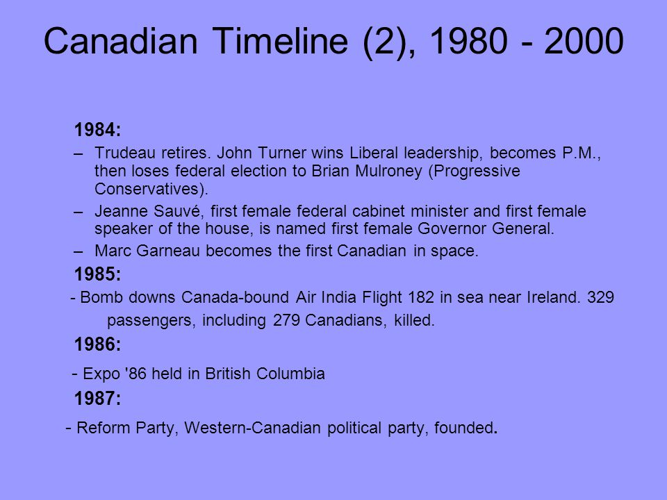 Canadian Timeline (2), 1980 - 2000 - Expo 86 held in British Columbia
