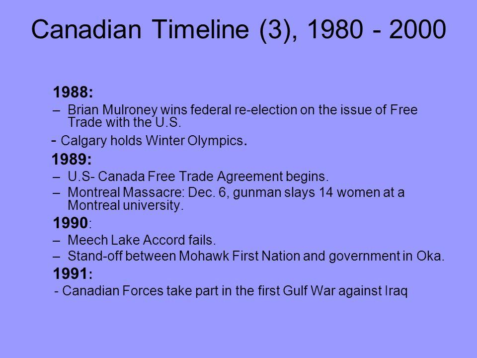 Canadian Timeline (3), 1980 - 2000 1988:
