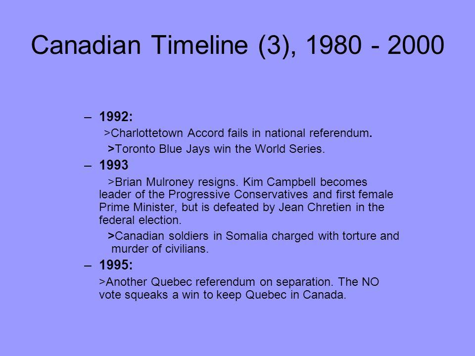 Canadian Timeline (3), 1980 - 2000 1992: 1993 1995: