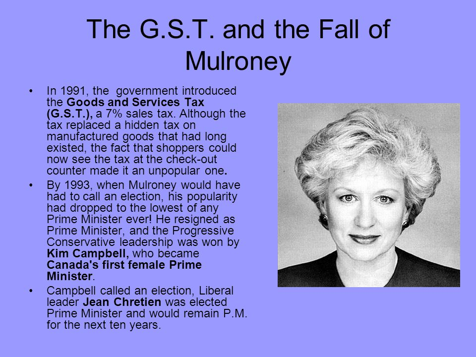 The G.S.T. and the Fall of Mulroney