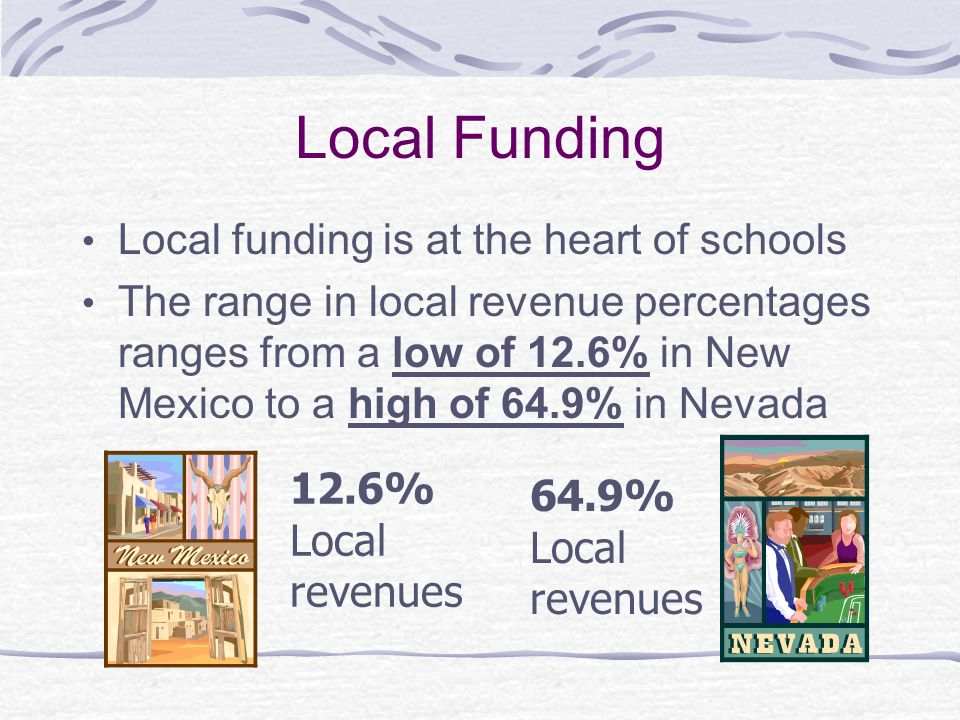 Local Funding Local funding is at the heart of schools