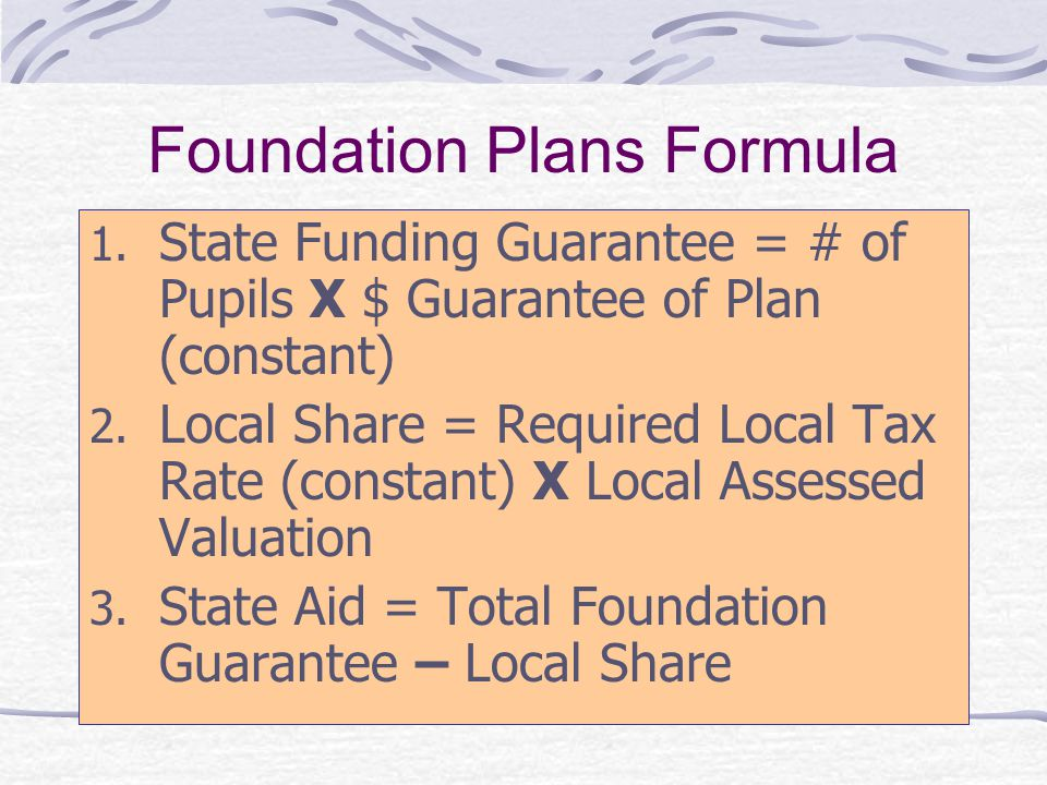Foundation Plans Formula