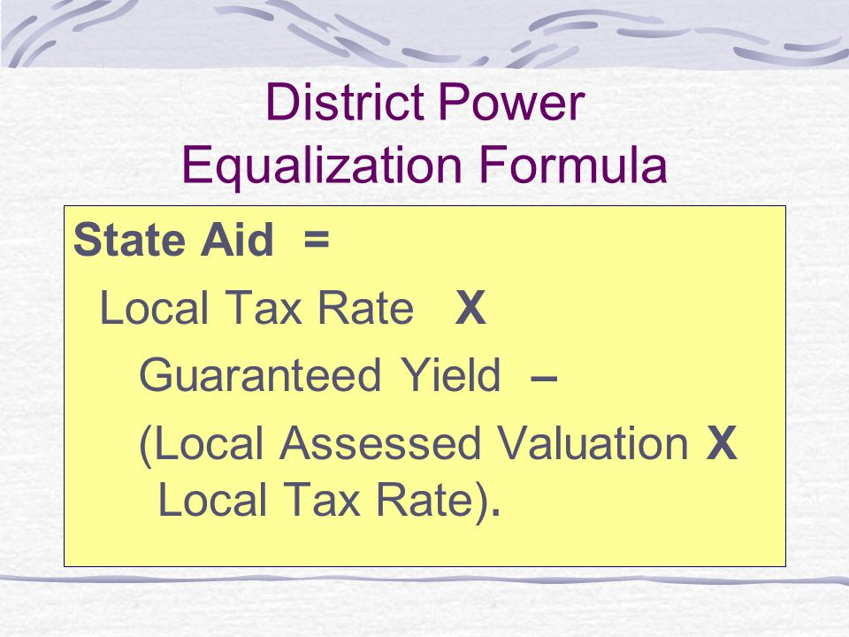 District Power Equalization Formula
