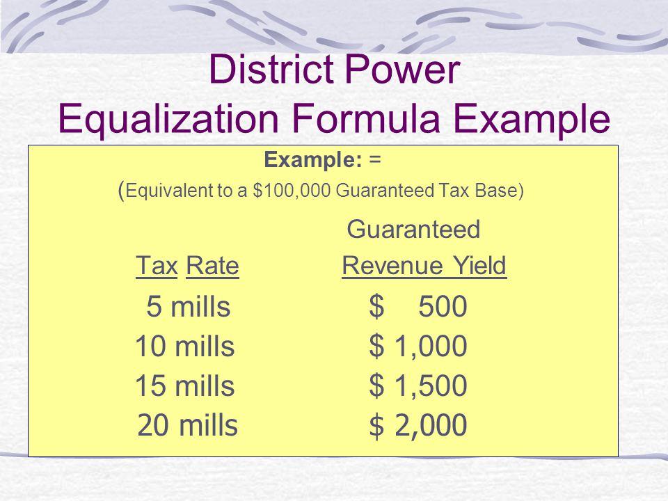 District Power Equalization Formula Example