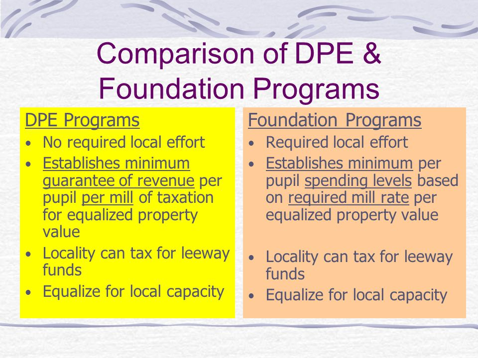 Comparison of DPE & Foundation Programs