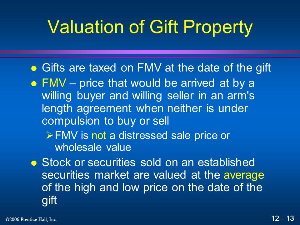 Valuation of Gift Property