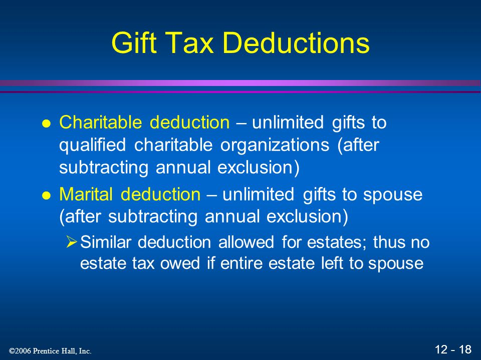 Gift Tax Deductions Charitable deduction – unlimited gifts to qualified charitable organizations (after subtracting annual exclusion)