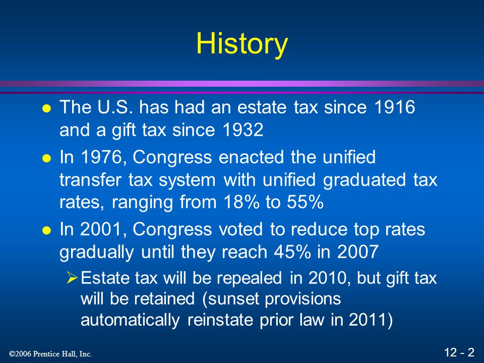 History The U.S. has had an estate tax since 1916 and a gift tax since