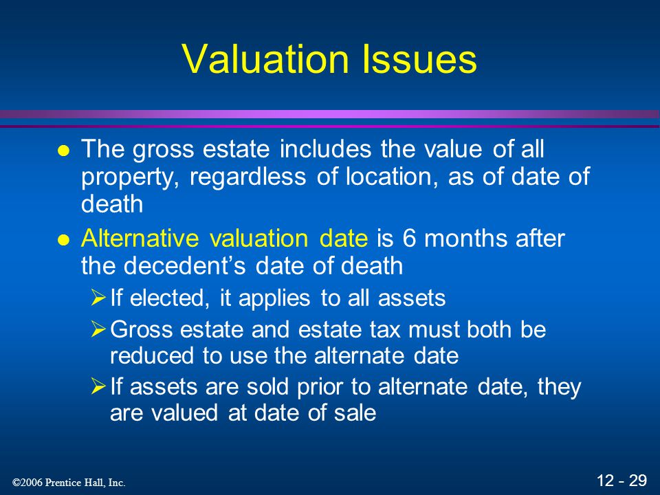 Valuation Issues The gross estate includes the value of all property, regardless of location, as of date of death.