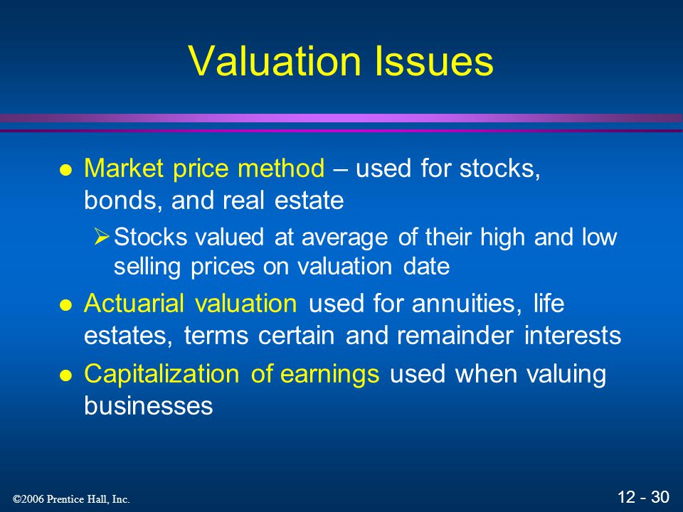 Valuation Issues Market price method – used for stocks, bonds, and real estate.