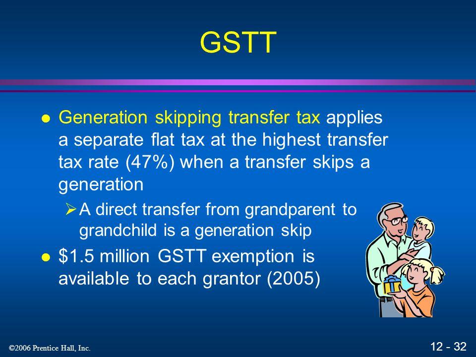 GSTT Generation skipping transfer tax applies a separate flat tax at the highest transfer tax rate (47%) when a transfer skips a generation.
