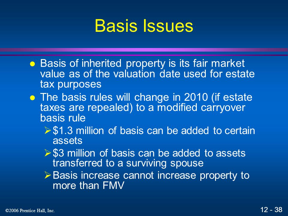 Basis Issues Basis of inherited property is its fair market value as of the valuation date used for estate tax purposes.