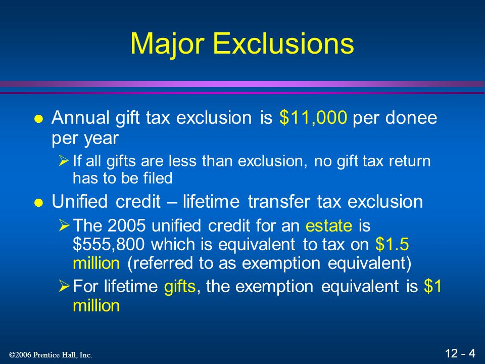 Major Exclusions Annual gift tax exclusion is $11,000 per donee per year. If all gifts are less than exclusion, no gift tax return has to be filed.