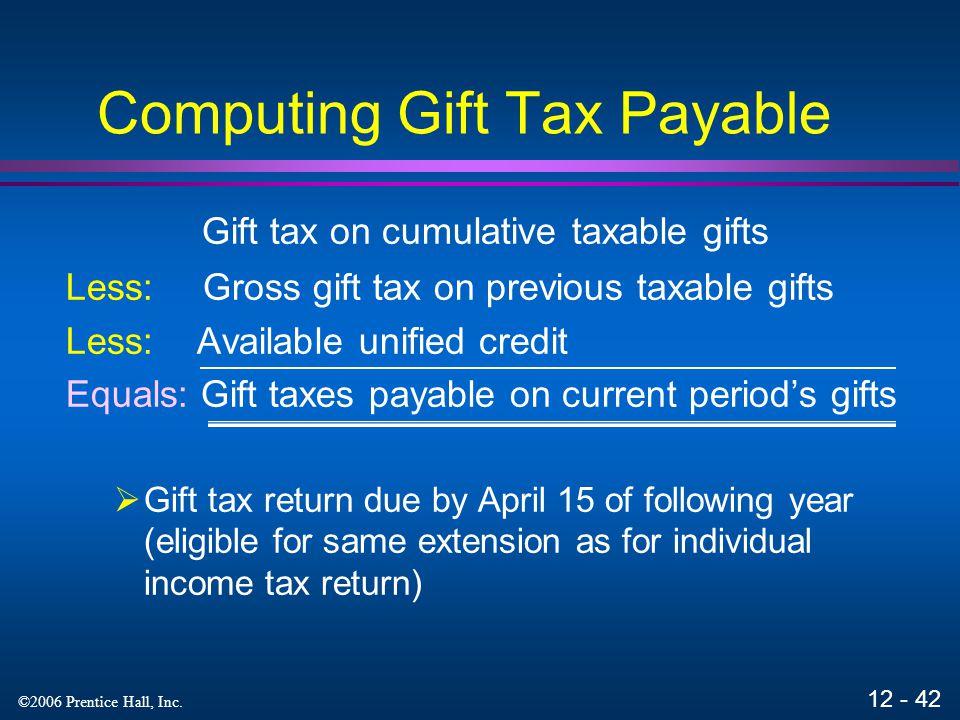 Computing Gift Tax Payable