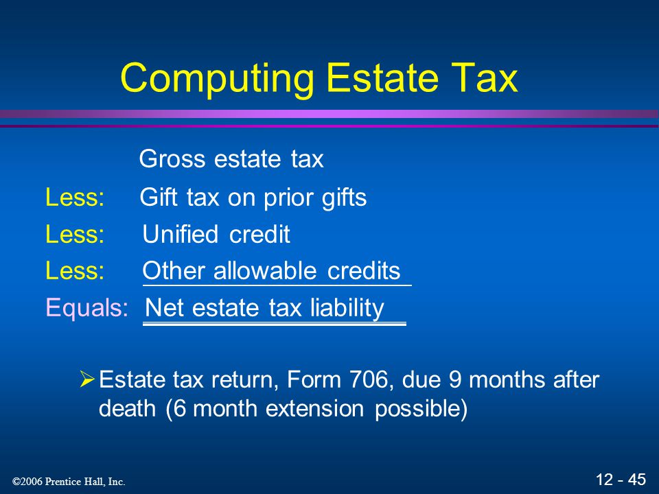 Computing Estate Tax Gross estate tax Less: Gift tax on prior gifts