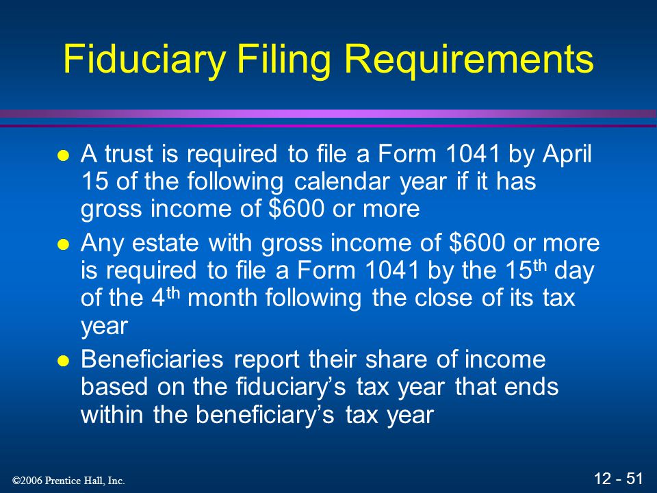 Fiduciary Filing Requirements