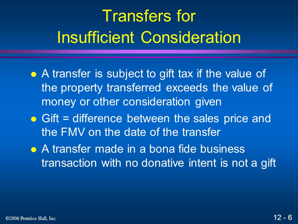 Transfers for Insufficient Consideration