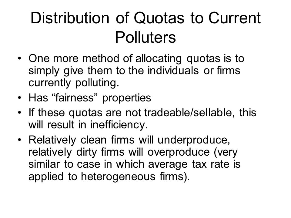 Distribution of Quotas to Current Polluters
