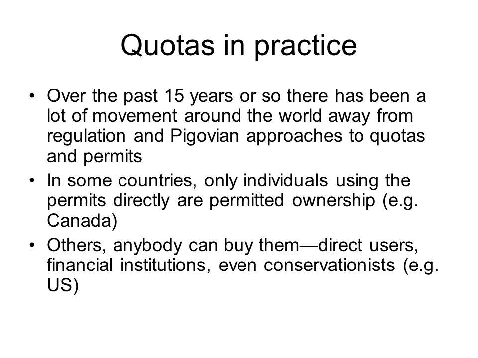 Quotas in practice