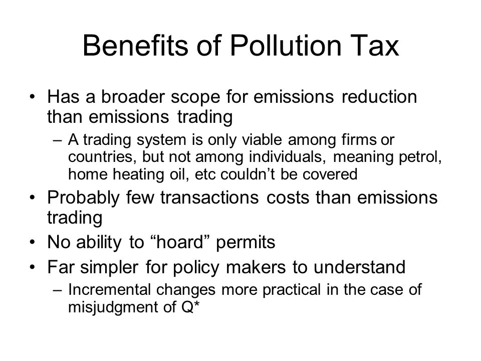 Benefits of Pollution Tax