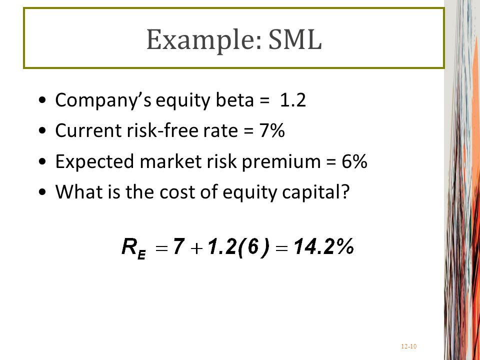 Example: SML Company's equity beta = 1.2 Current risk-free rate = 7%